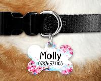 Personalised Pet Tag - ID Tag - Dog Tag - Bone Tag - Pink Blossom