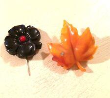 Bakelite Souvenir Travelcade Black & Red Stick Pin and Avon Plastic Leaf Brooch