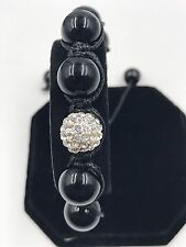 12mm Shamballa Beaded Adjustable Bracelet Genuine Black Onyx Hand Set Crystal