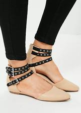 Missguided Femme uk 3 eu 36 Nude Noir Multi Lanière Pointu Sandales Plates Chaussures