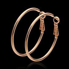 18K Rose Gold Latch Back Hoop Bali Earrings L121