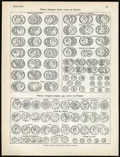 Antique Print-MONEY-COINS-FRANCS-FRANCE-Larousse-1897