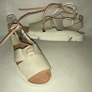NEW! Clarks Originals Trigenic Honey Women 11M Off White Leather Lace Up Sandals
