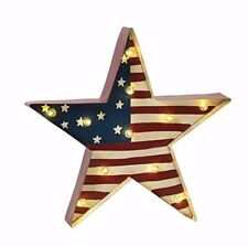 """Star American Flag Metal Display with 10 Clear Led Lights Battery Op New 14.5"""""""