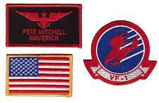 Hook Maverick Top Gun Movie Name Tag Eagle US Flag Costume Patch 3 pcs Set