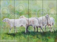 "Ceramic Tile Mural Backsplash Hughbanks Sheep Animals Art 17"" x 12.75"" Dha033"