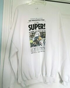 2007 Super Bowl XLI Jerzee Sweatshirt Colts Bears NFL Manning Dungy size 2X