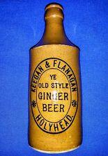 KEEGAN & FLANAGAN HOLYHEAD Ginger Beer Bottle  BOURNE DENBY  Crown Seal RARE