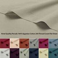 Luxury 100% Egyptian Cotton 200 Thread Percale Flat Top Sheet Single Double King