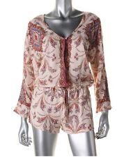 ZARA Women's 100% Viscose Multi Color Floral Print 3/4 Sleeves Romper ~ Size XS
