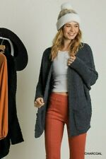 Umgee Charcoal Oversized Long Sleeve Open Front Cardigan Sweater Plus Size