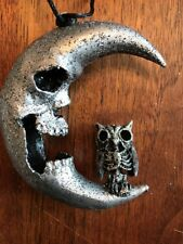 Katherine's Collection Halloween Skull Moon with Bat Ornament--New
