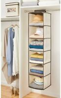 Hanging Storage Organizer   Long Soft Fabric Over Closet Rod with 6 Shelve