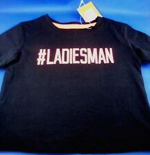 New TILT Baby #LADIESMAN (Size 0) Black Cotton Short Sleeve T-SHIRT NEW with Tag