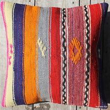 (45*45CM, 18 INCH) Boho handwoven kilim cushion cover multi colour stripes wide