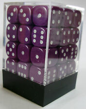 PACK OF 36 OPAQUE PURPLE SPOTTED DICE 6 SIDED 12mm SIDE