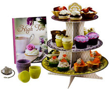 High Tea Entertainment Set 3 Tier Cupcake Cake Stand & Recipe Book & Tea Straine