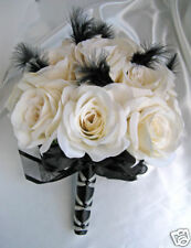 Wedding flowers Bridal Silk bouquet IVORY BLACK FEATHERS 17pc bouquets