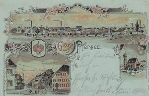 Ansichtskarte Bayern  Gruß aus Pfersee  Straßenbahn