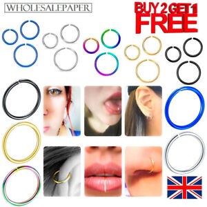 SURGICAL STEEL NOSE RING LIP EAR FACE SEPTUM HELIX FAKE BODY PIERCING HOOP SMALL