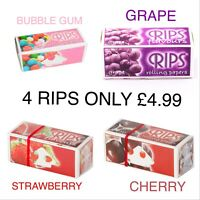4 X RIPS FLAVOURED CIGARETTE ROLLING PAPERS CHERRY, S/ BERRY BUBBLE GUM , GRAPE