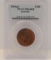 1963(p) Proof Half Penny (Y.)- PCGS PR64RB - 1/2D - Graded In Case