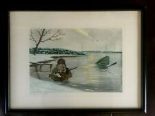 """Antique Hand Colored LITHOGRAPH """"Le GRAND AMOUR"""" Duck Hunter&Spaniel Cartoon"""