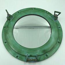"Ship's Cabin Porthole Mirror 15"" Aluminum Green Finish Round Nautical Decor New"