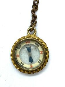 Antique Victorian Gilded Metal Miniature Compass Watch Fob, Pendant, Charm