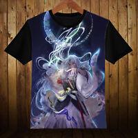 Anime InuYasha Sesshoumaru Cosplay Unisex Black Short Sleeve T-Shirt Tops #E-95