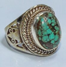 Sterling Silver Ethnic Asian Vintage Style Turquoise Stone Ring Size P 1/2 Gift