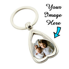 Personalised Heart 2 Metal Keyring Key Ring Print Your Photo With FREE GIFT BOX