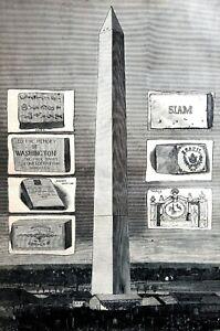 Washington Monument Dedication 1885 MEMORIAL STONES Matted GERMAN LESLIES Print