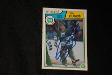 HOF RON FRANCIS 1983-84 O-PEE-CHEE SIGNED AUTOGRAPHED CARD #138 WHALERS
