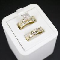 Trio His Her Wedding Diamond Bridal Ring Set Band Engagement 14K Yellow Gold Fn