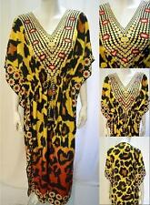 PLUS SIZE TRIBAL LEOPARD PRINT KAFTAN MAXI DRESS YELLOW 18 20 22 24 26 28 30 32