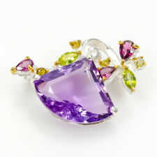 New Fashion 2020 Natural Amethyst 925 Sterling Silver Brooch /NB05881