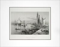 """BOSTON 1872 Engraving """"City of Boston"""" Rescued and Restored! - Beautiful Harbor"""