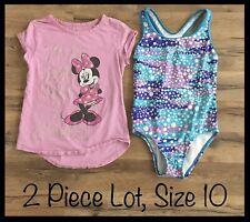 Girls Clothing Lot, 2 Items, Size 10, DIsney Minnie Mouse Shirt, Speedo Swimsuit