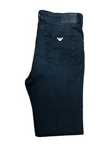 Original Armani Slim Fit Faded Black Stretch Denim Jeans W34 L34 ES 8270