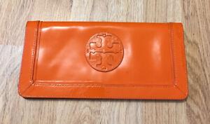 Authentic Tory Burch Orange Suki Patent Leather Wallet Clutch