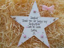 Personalised Thank You Godmother Godparents Hanging Keepsake Star Gift