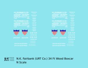 K4 N Decals NK Fairbank URT Co. 34 Ft Wood Boxcar White Billboard