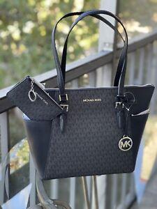 Michael Kors Womens PVC Leather Shoulder Tote Bag Handbag + Coin Pouch id Wallet