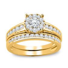 1.81 CT Round Cut Diamond 14K Yellow Gold Fn Engagement Wedding Bridal Ring Set