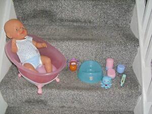 Zapf Creations Baby Born Doll 16'' Tall With Bath Potty Pots & Feeding Bottle