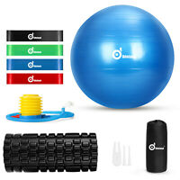 8In1 Exercise Yoga Ball&Foam Roller+Resistance Bands Set Workout Fitness Balance