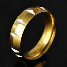 Novelty Men's Unisex Yellow/White Gold Filled Carved Band Ring SZ 8#d3396