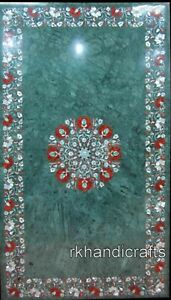 24 x 42 Inches Green Marble Kitchen Table with Shiny Gemstones Coffee Table Top