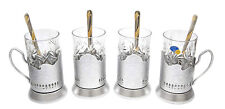 SILVER Set of 4 Russian Vintage Crystal Tea Glass & Handmade Holder Podstakannik